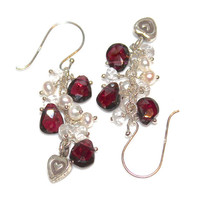 Valentine&#x27;s Day Garnet and Bali Heart Sterling Silver Dangle Earrings Pearl Handcrafted Gemstone Jewelry