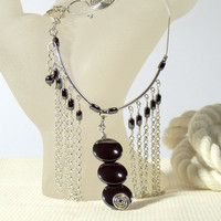 Haematite and Sterling Silver Chain Fringe Statement Necklace