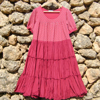 Womens Dress XL Upcycled  Full Skirt Ruby Colours Urban Shabby Chic