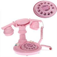 Retro Imitated Kitty Style Crystal Key Telephone Set -Pink