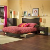 My Associates Store - South Shore Back Bay Dark Chocolate Queen Wood Storage Platform Bed 3 Piece Bedroom Set