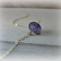 Moss Amethyst Necklace February Birthstone Gemstone Jewelry 14K Goldfill