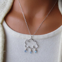 Cloud With Raindrops Sterling Silver Necklace Cloudy With a Chance Of Cute