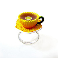 Sunny Sunflower Teacup And Saucer With Tea And Lemon Ring Garden Collection