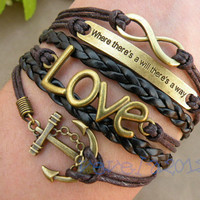 Retro bronze anchor braceletLOVE  Bracelet where by vevela2012