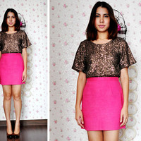 Pink Mini Skirt - High Waist Neon Pink