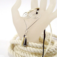 Sterling Silver Heart Pendant on Black and White Cord