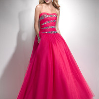 Funky Pink Beaded Tulle Strapless Lace Up Prom Gown - Unique Vintage - Cocktail, Pinup, Holiday &amp; Prom Dresses.