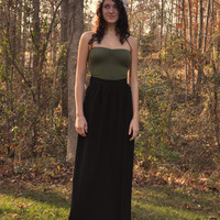 Long Black Maxi Skirt with a Gathered Waist and Fitted by SewRed
