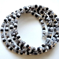 Beaded Cuff Statement Bracelet in Black, White, Grey and Silver