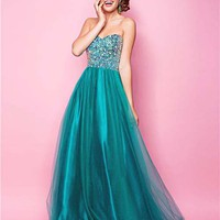 Jade Rhinestone Tulle Strapless Sweetheart Prom Gown - Unique Vintage - Cocktail, Pinup, Holiday &amp; Prom Dresses.
