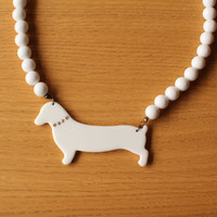 80s 90s preppy dog Dachshund beaded necklace by aspirina on Etsy