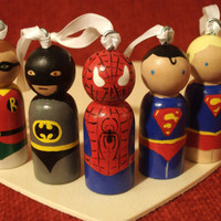Custom Christmas Super Hero Ornament with Loops and Ribbon  Choose One