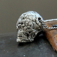 Sugar Skull Necklace in Solid White Bronze  - An Exclusive of Moon Raven Designs