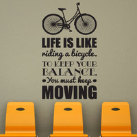 Wall Decal Quote Text Vinyl Sticker Home Decor Art Mural &quot; life is like riding ... &quot; 42.5&#x27;&#x27; x 22.8&quot;