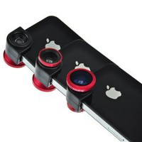 EarlyBirdSavings Red 3 in 1 Fisheye Lens Wide Angle Macro Lens Photo Kit Set for Iphone 4 4GS 4S
