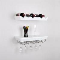 "Welland 22""L x 11""D x 5""T Wall Mounted Bottle Wine Rack Shelf with Glass Holder Set New"