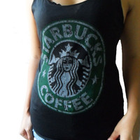 Classic Starbucks Coffee Print Tank Tops Women T-Shirt Very Thin Cotton Black Vest Size S M