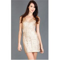 D12448 Gold Sequin Side Mesh Inset Dress and Womens Fashion Clothing  Shoes - Make Me Chic