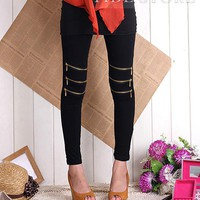Luxury OL Style Korean Style Cotton Zippered Elastic Leggings: tidestore.com