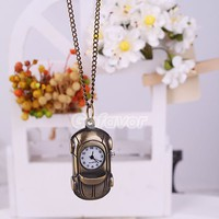 Vintage Bronze Sportscar Pocket Watch Pendant Necklace