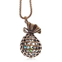 Unique Pocket Pendant with Jewel Retro Necklace Chain Neck Ornament for Female