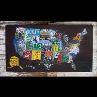 Original United States Map  Recycled License by recycledartco