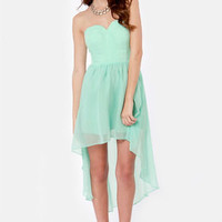 Sea Star Strapless Mint Blue Dress