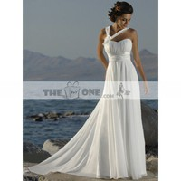 Empire Waist Wedding Gown with Elegant Pleats Semi-Cathedral Train Chiffon Dress
