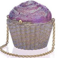 Pink Cupcake Crystal Novelty Clutch