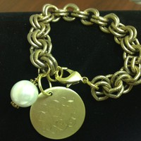 Gold-Toned Monogrammed Bracelet with Pearl Charm from the Palm Gifts - Unique Monogrammed Gifts for Every Occasion