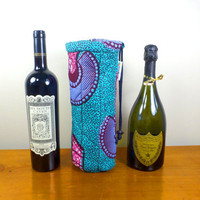 Wine Bottle Cozy - African Print Water Bottle Tote