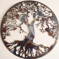 Tree Of Life, LARGE Wall decor, Metal Art - HEAT COLORED