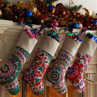 &quot;Suzani&quot; Christmas Stockings - Horchow