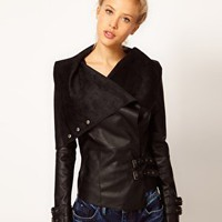 River Island Leather Look Drape Jacket at asos.com