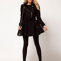 ASOS Fit And Flare Biker Coat at asos.com