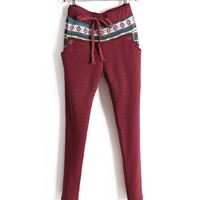 Claret-red Drawstring Leggings with Fleece Lining and Aztec Print