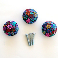 3 Millefiori polymer clay design wood knobs pulls by cathyharm
