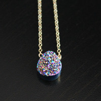 Rainbow Druzy Crystal Necklace