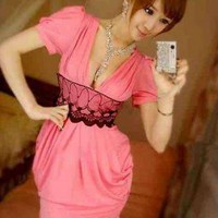 Pink Party Dress - Low Cut Pink Lace Sheer   UsTrendy