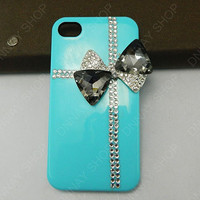iphone 5 case Crystal black bow  Diamonds case   iphone 4 case iphone 4s case 3D iphone 5 cases