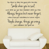 Life goes on.. Inspirational Vinyl Wall Decal