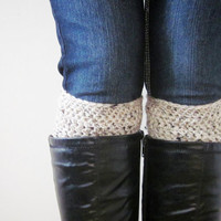 Crochet Boot Cuffs Socks Boot Toppers in Oatmeal