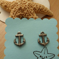 Anchor Earrings studs posts - Nautical jewelry - OhanaSisters