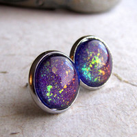 Violet Explosion Post Earrings 12mm Silver by AshleySpatula