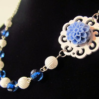 White &amp; Blue Necklace Periwinkle Mum on White Wood by EbonFlow