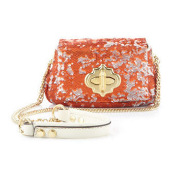 Oryany - Turn-Lock Crossbody Sequin Bag, Orange - Last Call