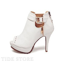 White PU Upper Stiletto Heels Peep Toe Women's Shoes: tidestore.com