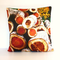 throw pillow log cabin AUTUMN pillow FIREWOOD by mybeardedpigeon