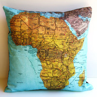 vintage maps AFRICA Organic cotton Atlas map of by mybeardedpigeon